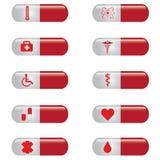 医疗横幅集合药片。 免版税库存照片