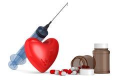 医疗注射器和心脏在白色背景 被隔绝的3D illus 库存图片