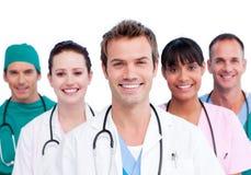 医疗纵向微笑的小组 免版税库存图片