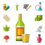 医疗药物象传染媒介实验室科学酒精诊所疗程网救护车标志化学制品瘾 向量例证