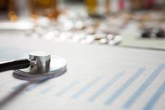 医疗营销和医疗保健经营分析报告与图表 免版税库存图片