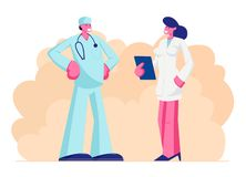医疗长袍的男性医生有听诊器的讲话与护士藏品笔记本在手上,诊所,医院医疗保健职员工作 皇族释放例证