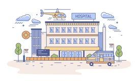 医院、康复中心或者急症室大厦与直升机着陆在它和救护车顶部 向量例证