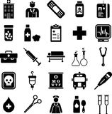 医院和医疗图标 库存例证