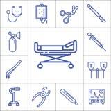 医院工具或辅助部件线性传染媒介象s 免版税库存图片