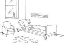 医院病房图表黑白色内部剪影例证传染媒介 免版税库存照片