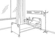 医院病房图表黑白色内部剪影例证 库存照片