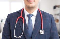 医院经理听诊器特写镜头  免版税库存照片
