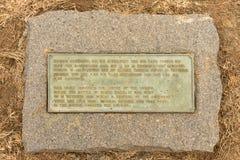 匾在黄牛无盖货车laager的中心在Bloedrivier的 库存照片