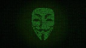 匿名活动家标志面具出现用在显示器的数据代码 影视素材