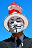 匿名,佩带的盖伊・福克斯面具 免版税库存照片