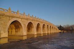 十七个孔桥梁在颐和园 图库摄影