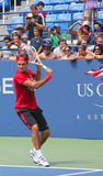 十七次全垒打冠军罗杰・费德雷尔为美国公开赛实践在比利・简・金全国网球Cente 库存照片