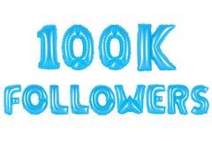 十万个追随者,蓝色颜色 免版税库存图片