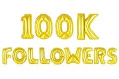 十万个追随者,金子颜色 免版税库存图片
