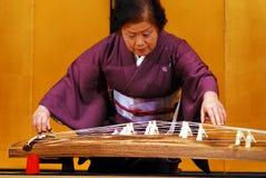 十三弦琴古筝球员 免版税库存照片