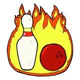 十个与火的别针滚保龄球的可笑的动画片标志 库存图片