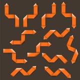 十二个橙色纸箭头 库存例证