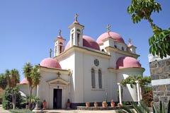十二位传道者的委员会的希腊教会在Capernaum, 免版税库存图片
