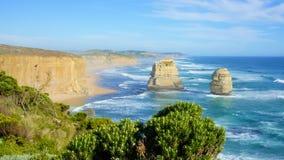 十二位传道者,沿维多利亚海岸, Australi的大洋路 库存照片