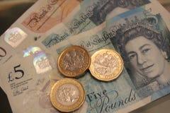 十五一1英镑硬币笔记10, 5, 1, 图库摄影