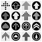 箭头标志象集合。 简单的圈子形状互联网   免版税库存图片