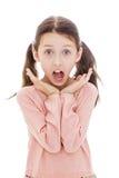 十几岁的女孩呼喊大开他的嘴,特写镜头 库存图片