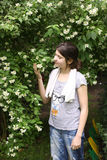 十几岁的女孩气味在灌木的茉莉属花 免版税图库摄影