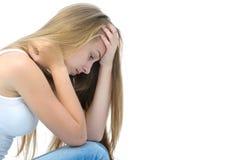 十几岁的女孩沮丧 免版税库存照片