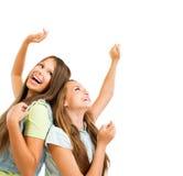 十几岁的女孩跳舞 免版税库存照片