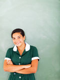 十几岁的女孩黑板 库存图片