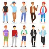十几岁的男孩传染媒介年轻男性收养字符和青少年英俊的男朋友例证男孩样的套青年时期或学生 免版税库存图片