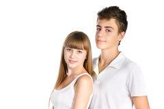 十几岁的男孩和女孩纵向  免版税库存照片