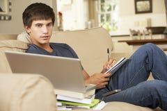 十几岁的男孩在家坐做家庭作业的沙发使用便携式计算机 库存照片