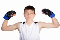 十几岁的男孩拳击手 免版税图库摄影