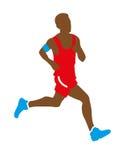十几岁的男孩运动员赛跑 免版税库存照片