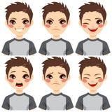 十几岁的男孩面孔表示 向量例证