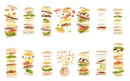 十四个不同开放浮动三明治 图库摄影