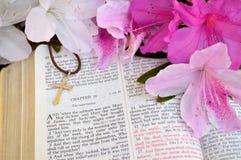 十字架和圣经,指示16复活节背景 图库摄影