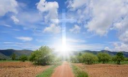 十字架和山 库存照片
