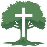 十字架和树基督徒宗教标志传染媒介例证 免版税库存图片