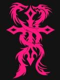 十字架和龙纹身花刺 库存图片