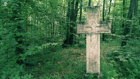 十字架在森林里 免版税库存图片