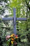 十字架在森林 免版税库存照片