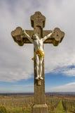 十字架在葡萄园里 图库摄影