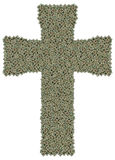 十字架由老和肮脏的微处理器制成 免版税库存图片