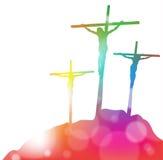 十字架的耶稣基督在摘要 免版税库存照片