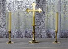 十字架&蜡烛 免版税库存图片