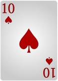 十把卡片锹啤牌 免版税库存照片
