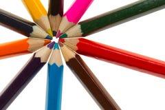 十支不同颜色铅笔 免版税库存图片